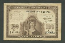 More details for new caledonia 100 francs  1943  p46a  about vf banknotes