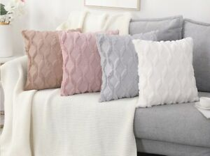 Textured Plush Geometric Cushion Covers Luxury Pillow Case Home Sofa Scatter