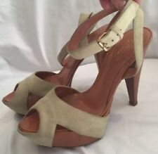 Size 37 Sergio Rossi Suede & Nude Heels. New Without Box