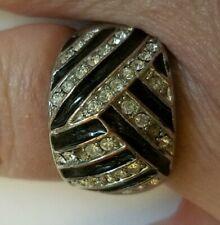 Lia Sopia Silver Tone Black& Clear Rhinestone Weave Size 10 Ring