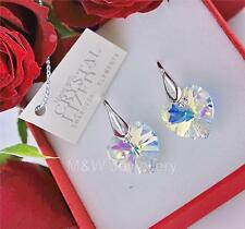 EARRINGS CRYSTALS FROM SWAROVSKI® HEART CRYSTAL AB 14mm STERLING SILVER 925