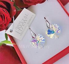 Pendientes hecho con elementos de Swarovski Corazón Cristal AB 14mm plata esterlina 925