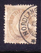Norway postage stamp - 1893 1ore drab Perf 13.5 x 12.5 - Used