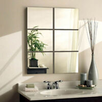 9Pcs DIY Square Mirror Tile Wall Stickers 3D Decal Mosaic Home Room Decor