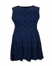 Autograph Samya Lined stretch LACE over Skater Dress in cornflower BLUE 16 NEW