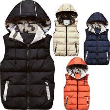 Men Cotton Down Hooded Sleeveless Vest Bodywarmer Gilet Warm Top Waistcoat Gift