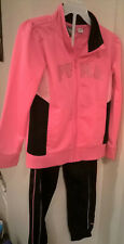 PUMA GIRL'S JOGGING / WARM-UP SUIT 2 PIECE BLACK & PINK ZIP UP JACKET SIZE 6