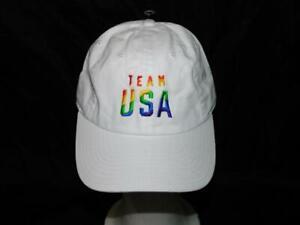 TEAM USA White Rainbow Stripe Pride USA Slouch Cap NEW Mens Strap Back Hat OS