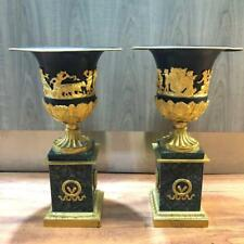 Antique 20th Century Pair of French Style Green Marble Gilt Bronze Urns