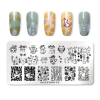 NICOLE DIARY Rectangle Nagel Schablone Cute Cats Nail Art Stamp Stencil 078