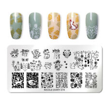 NICOLE DIARY Rectangle Nail Stamping Plates Cute Cats Nail Art Stamp Stencil 078