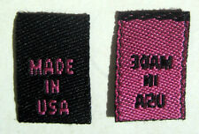 250 pcs WOVEN CLOTHING LABELS, CARE LABEL - BLACK WITH HOT PINK - MADE IN USA