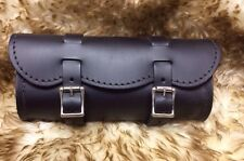Small Black Leather Plain Motorcycle Tool Bag Harley Indian Made in USA
