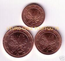 Pièces de 1,2,5cts euro d' Allemagne 2004, lettre J.