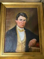 "American School ""Formal Portrait Of Herman Haupt "" Oil Painting - Signed/Framed"