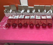 Princess House Hand Blown Ruby Red HERITAGE Glass Ball Ornament w/ Box Set Of 8