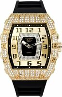 Men Iced Bling Rapper Simulate Lab Diamond Rubber Luxury Rectangle Gold Watch