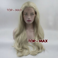 """Halloween 24"""" Hell Blonde Gelockt Cosplay Perücke Lang Lace Front Wig + Wigcap"""