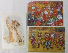 THREE LOUIS WAIN CHRIS BEETLES 2010,2011,1995 SUMMER CAT ART EXHIBITION INVITES