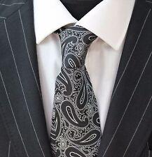 Tie Neck tie with Handkerchief Black & Silver Paisley