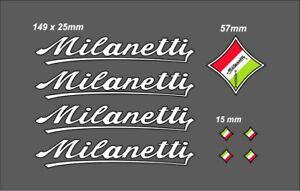 MILANETTI FRAME DECAL SET WHITE/BLACK OUTLINE