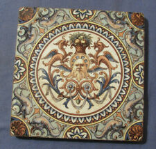 ANTIQUE TILE WITH DRAGONS - DOLPHINS - MONSTER