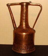 PRIMITIVE ANTIQUE COPPER HAND FORGED EWER WATER PITCHER CONTAINER 2+LBS GORGEOUS
