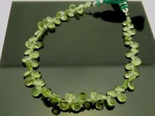 "Natural Pale Green Apatite Faceted Briolette Teardrop Gemstone Beads 8"" Std"