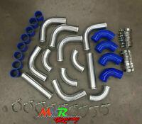 "3"" 76mm aluminum universal Intercooler Turbo Piping pipe + Blue hose + T-Clamp"