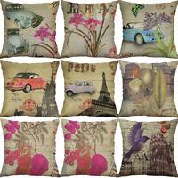 "18"" Retro Flower Car Bird Print Cotton Line Home Decor pillow case Cushion Cover"