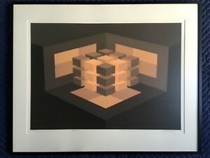 BRIAN HALSEY SERIGRAPH ABSTRACT OP ART SACRED GEOMETRY MANDALA MATRIX SIGNED