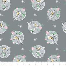 Camelot Fabric Disney Tinker Bell Floral Frame in Grey PER METRE Licensed Peter