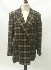 Vintage 1980s Brown Checked Ladies Double Breasted Jacket Blazer Size 16 Baggy