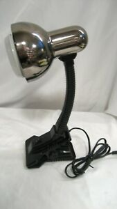 Used Portable Silver Shade-Black Gooseneck Clip-on Lamp model 105 w/warranty