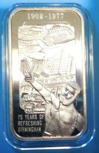 1977 Birmingham, Al. 75th Anniversary silver Coca Cola Bar - 1 ounce pure .999