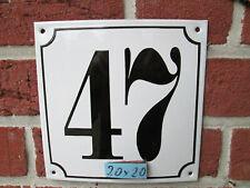 Hausnummer Mega Groß  Emaille Nr 47 schwarze Zahl weißer Hintergrund 20cmx20 cm