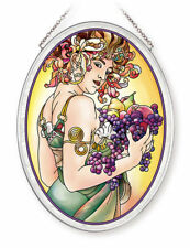 FRUIT WOMAN WITH FRUIT AMIA STAINED GLASS SUNCATCHER 5.5 X 7 OVAL   42719