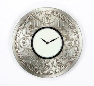Traditional Indian Wall Clock with silver Embodded Antique Clock Vintage Clock