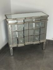 Venetian Mirrored 6 Drawer Chest Of Drawers With Distressed Antique Silver Trim