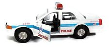 """5"""" Chicago Diecast Metal Police Car, White, with Pullback Motor Action"""