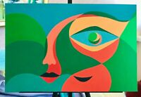original acrylic on board painting contemporary art very fine artwork signed