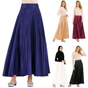 Muslim Women Pleated Skirts High Waist Long Maxi Skirt Flared Skater Islamic New