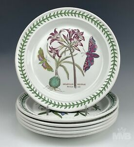 """Set 6 Portmeirion """"Botanic Garden"""" 1972 Floral Insect Butterfly Dinner Plate BWA"""