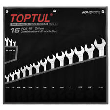 TOPTUL 16 Pieza 15 ° Offset Super Torque Llave De Combinación Set SAE 1/4in - 1 1/4