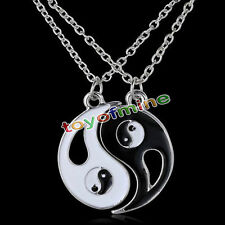 New Large Ying and Yang BEST FRIENDS Enamel 2 Necklace Pendant Fashion Jewelry
