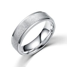 Men & Women Scrub Stainless Steel Silver & Gold Band Wedding Engagement Rings