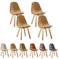 4x Tulip Dining Chair Alexander Padded PU Scandinavian Grey Cream Brown