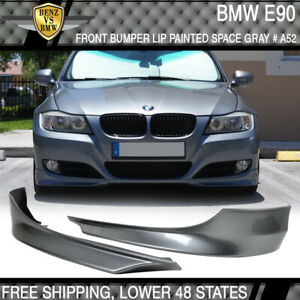 Fit 09-12 BMW E90 3-Series Front Bumper Lip Splitter 2PC Painted Space Gray - PP