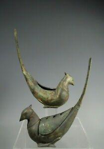 Pair South East Asian Bronze Pheasant Shape Incense Burners w/ Traces Gilding
