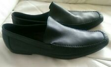 LACOSTE BLACK LEATHER MENS SLIP ON LOAFERS SHOES MADE IN ITALY SIZE EU 45